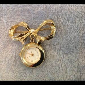 Monet Bow Pin Watch Vintage